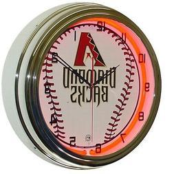"Arizona Diamondbacks MLB 16"" Red Neon Lighted Wall Clock Chr"