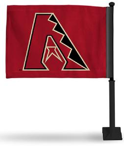 ARIZONA DIAMONDBACKS MLB CAR FLAG BLACK POLE DOUBLE SIDED