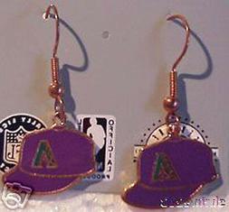 Arizona Diamondbacks Purple Cap Logo Earrings