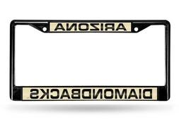 Black Laser Chrome License Plate Frame - Arizona Diamondback