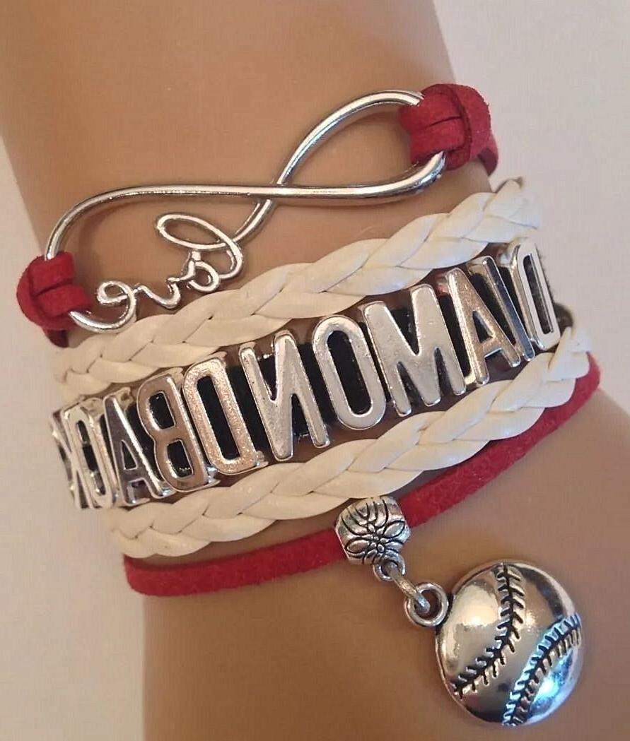 arizona diamondbacks leather baseball bracelet charm quality