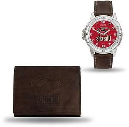 MLB Arizona Diamondbacks Brown Faux Leather Watch & Wallet S