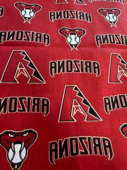 """MLB Arizona Diamondbacks Cotton Fabric 18"""" x 58"""" 1/2 Yard Fa"""