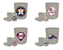 MLB Logo Theme Gray 4 Pc Bathroom Set Trash Can Toothbrush H